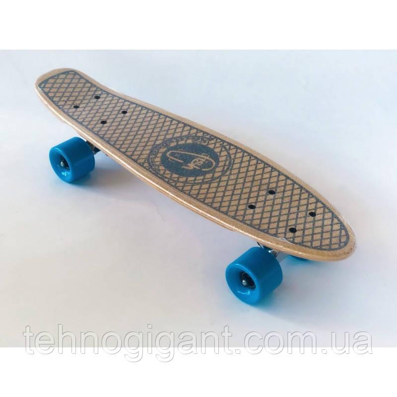 Пенни борд FISH деревянный, бамбуковый, Скейт Penny Board с широкими колесами, пенниборд детский