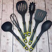 Набір кухонного приладдя Kitche Tools для приготування їжі 7 предметів у зеленому кольорі (Фото з товару)