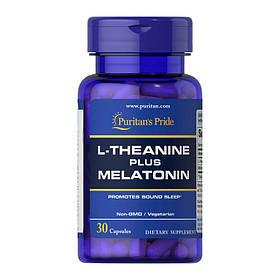 Л-теанін Puritan's Pride L-Theanine plus Melatonin (30 кап) пуринтанс прайд