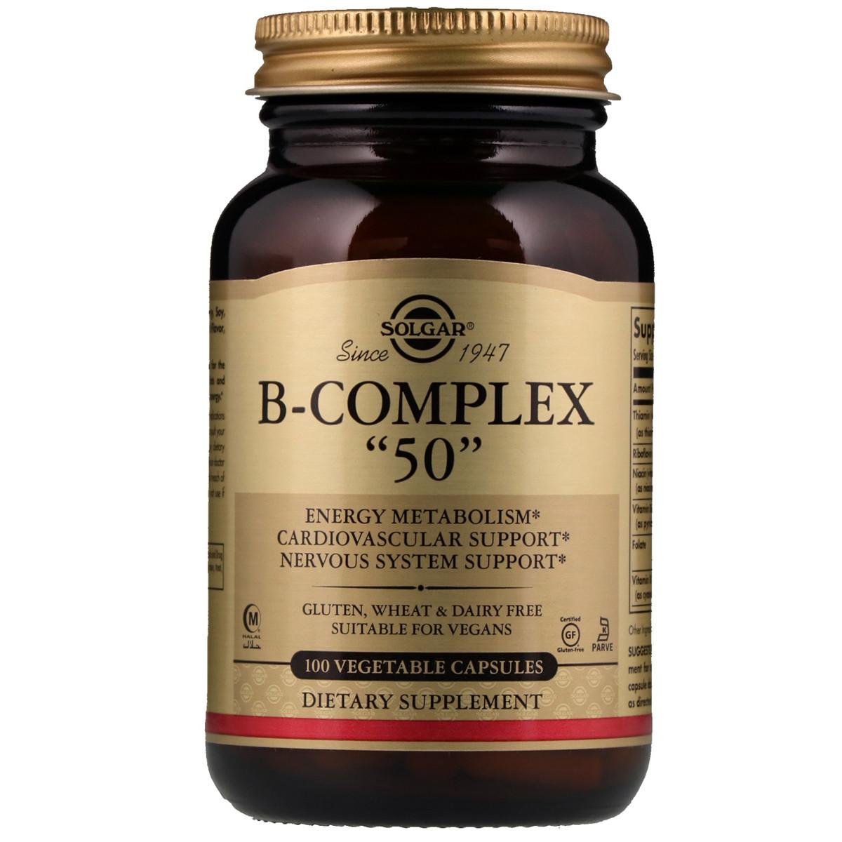 """Витамины B-комплекс, B-Complex """"50"""", Solgar, 100 гелевых капсул"""