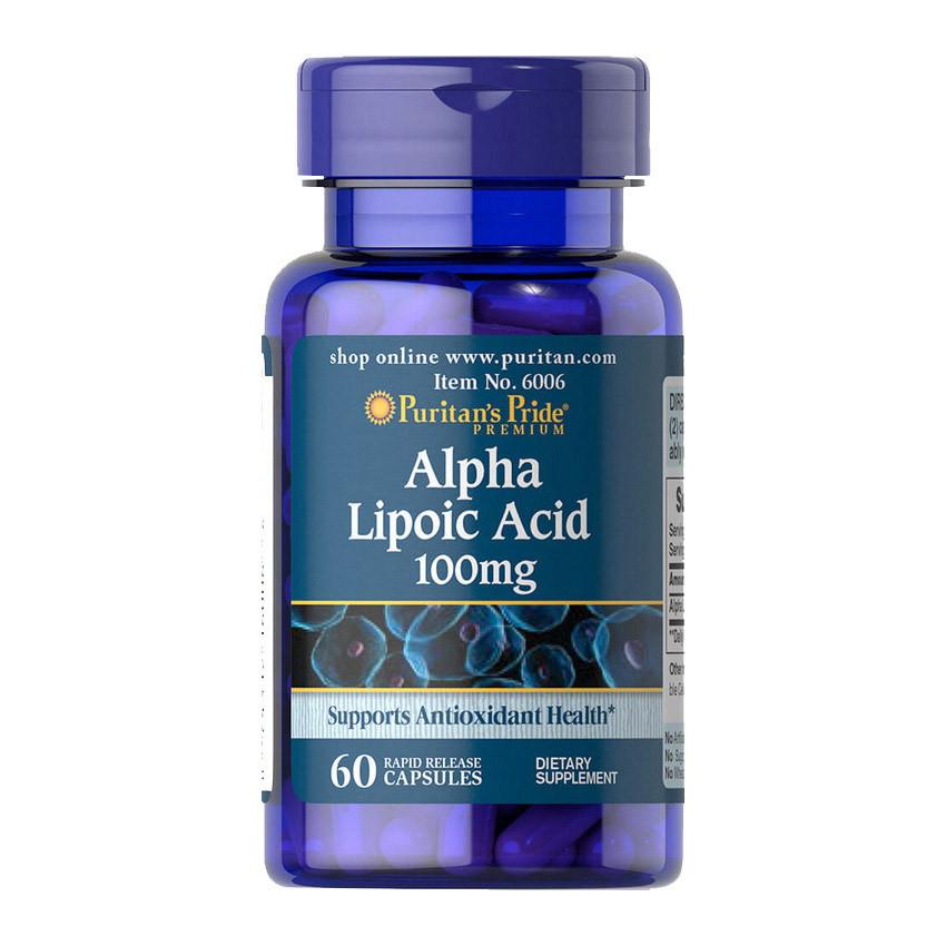Альфа-липоевая кислота Puritan's Pride Alpha Lipoic Acid 100 mg (60 капсул) пуританс прайд