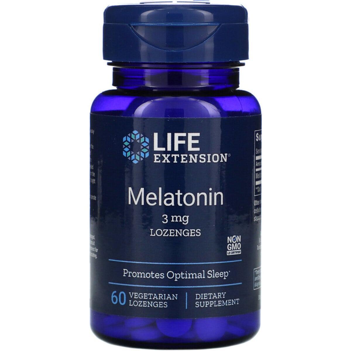 Мелатонин, Melatonin, Life Extension, 3 мг, 60 вегетарианских леденцов