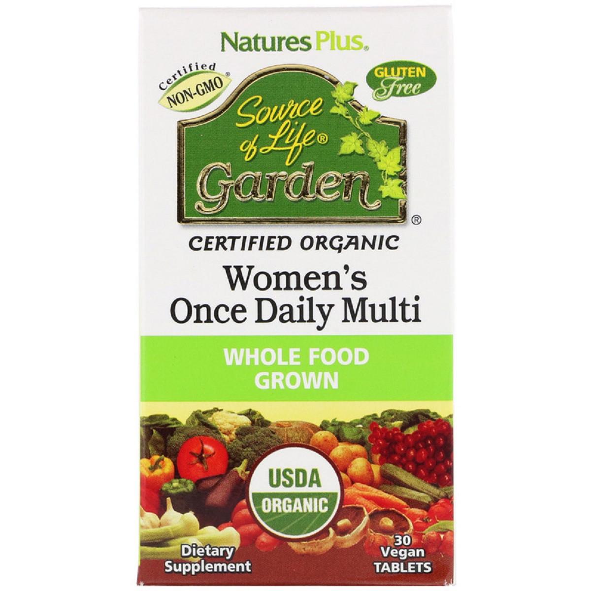 Органические Ежедневные Мультивитамины для Женщин, Source of Life Garden, Natures Plus, 30 таблеток