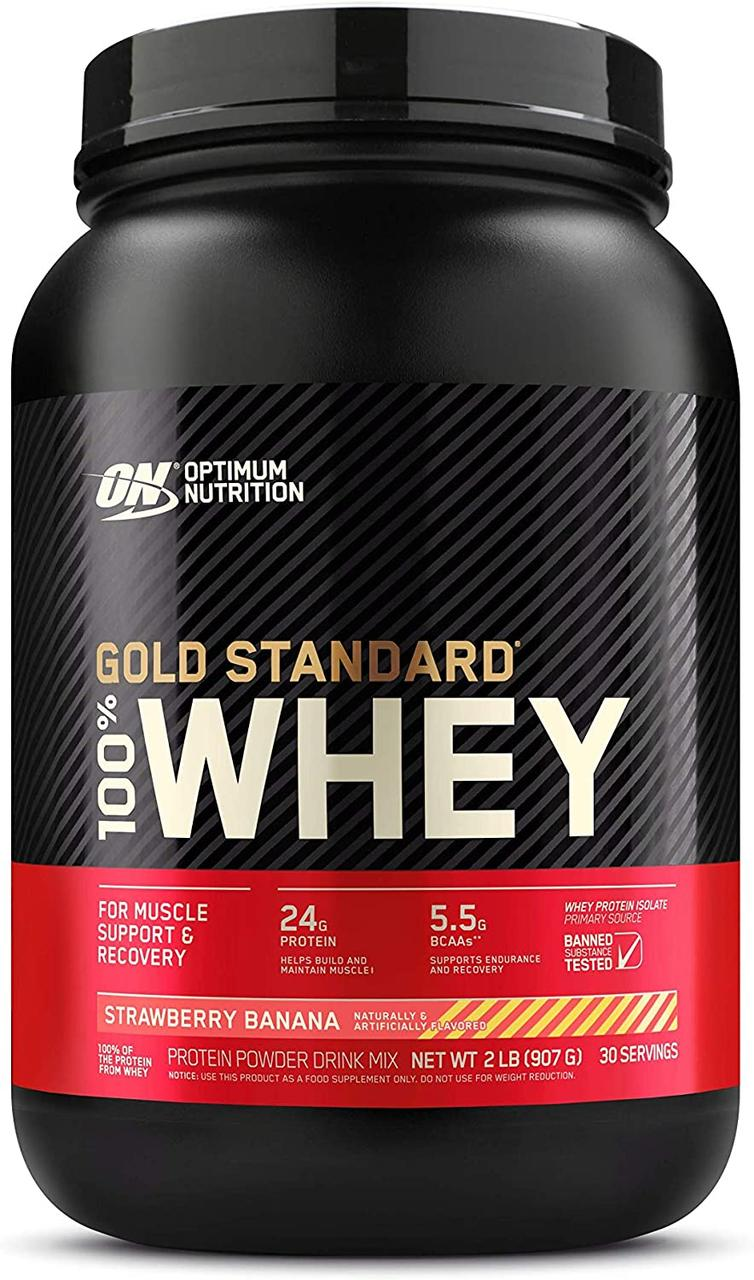 Сироватковий протеїн ізолят Optimum Nutrition 100% Whey Gold Standard (0,9 кг) оптимум вий стандарт голд
