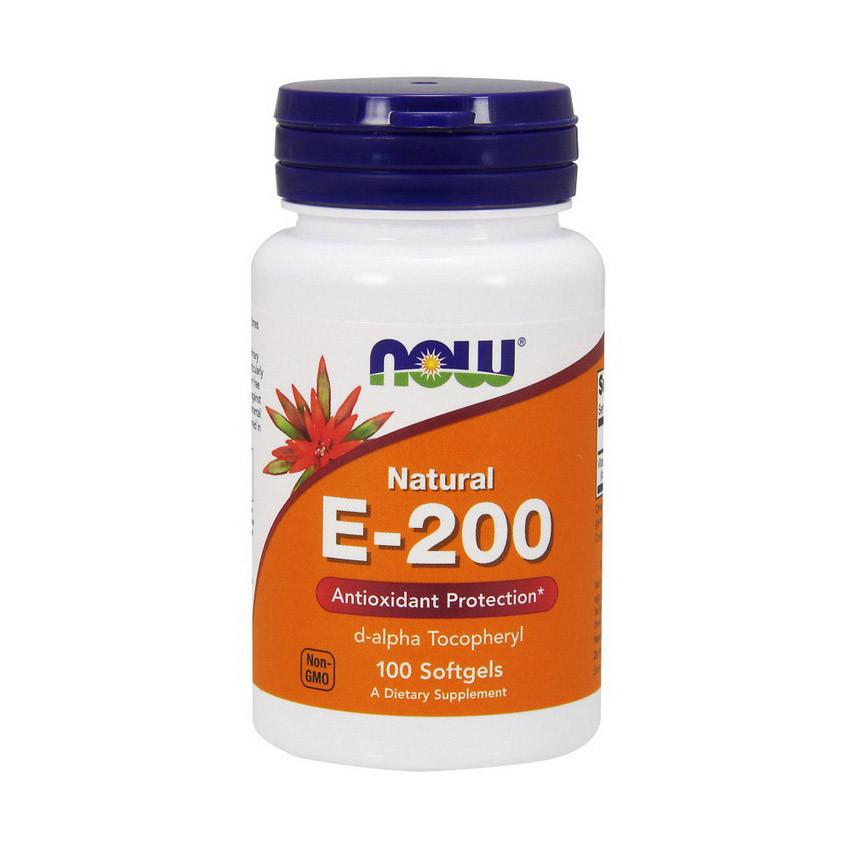 Вітамін Е Now Foods E-200 (100 кап) нау фудс
