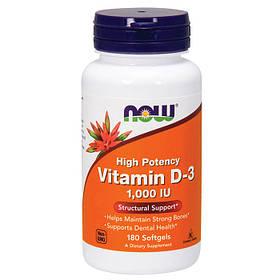 Витамин д3 Now Foods Vitamin D-3 1000 IU (180 капс) нау фудс