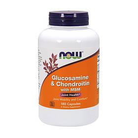 Глюкозамін хондроітин МСМ Now Foods Glucosamine & Chondroitin with MSM (180 кап) нау фудс