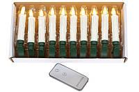 Набор декоративных свечей (10шт) с пультом ДУ, LED свет теплый белый с эффектом мерцания натуральной свечи, 11
