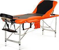 Стол, кровать для массажа 3 секционные алюминиевые черно - оранжевые BODYFIT