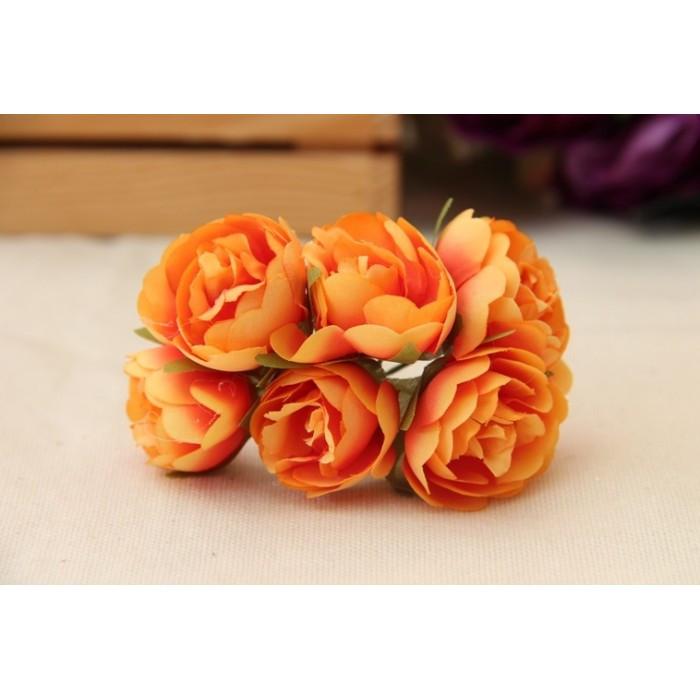 """Цветы """" Камелия """"  оранжевые      60 шт"""