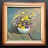 Картина , букет в голубой вазе , флористика .