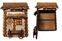 Ключница дом, маленькая, дерево (33х29х6,5)