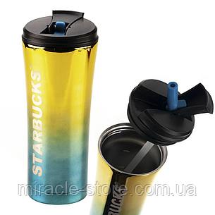Термокружка з трубочкою Starbucks термочашку тамблер для чаю і кави 500 мл, фото 2