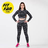 Женский спортивный костюм для фитнеса бега йоги камуфляж Fit Fan Dazzle Paint