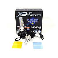 Автомобільні LED Лампи H7 6000K 50W X3 Philips з активним охолодженням ip67