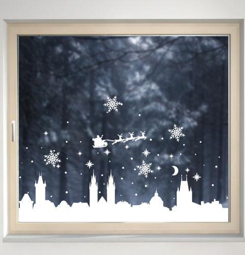 Новогодняя наклейка Силуэт старинного города (дед мороз, снежинки, снег, прага)