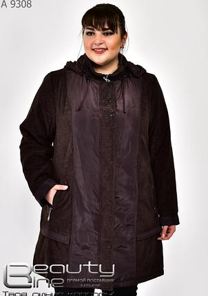 Демисезонная куртка женская бордо батал Фабрика моды Минова Одесса Размеры: 58.60.62.64.66.68.70.72, фото 2