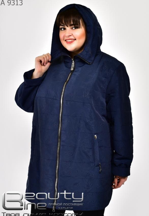 Демисезонная куртка женская синий батал Фабрика моды Минова Одесса Размеры: 60.62.64.66.68.70.72
