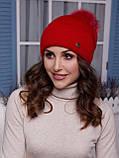 Жіноча шапка Іріда з помпоном натуральним песцовым, фото 6