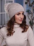 Жіноча шапка Іріда з помпоном натуральним песцовым, фото 10