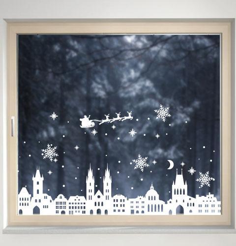 Новогодняя наклейка на стекло, окно, стену Красивые домики, старый город, Прага