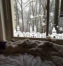 Новогодняя наклейка на стекло, окно, стену Красивые домики, старый город, Прага, фото 5