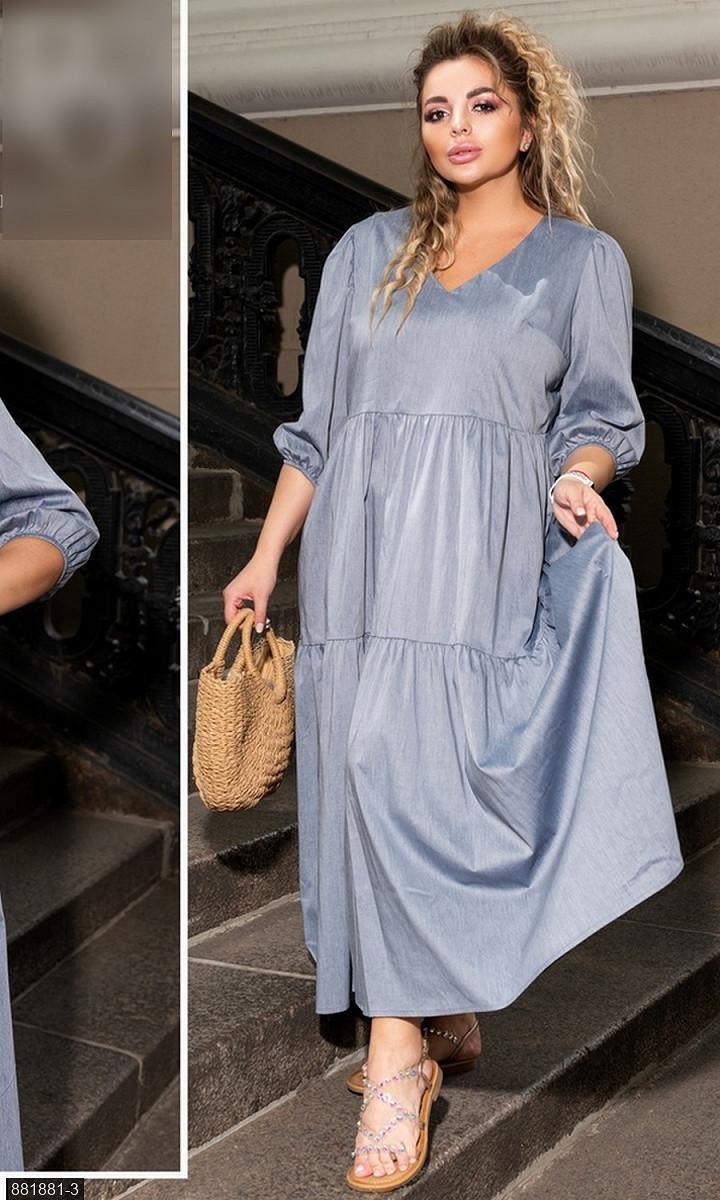 Платье  коттон серый Осень Украина 48-50 большого размера 881881-3