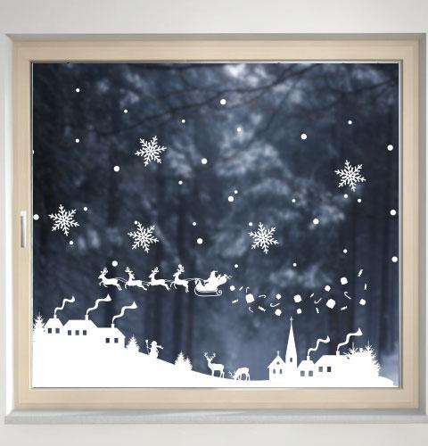 Наклейка Новогодняя ночь с дедом Морозом, зимней деревней и снежинками