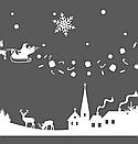 Наклейка Новогодняя ночь с дедом Морозом, зимней деревней и снежинками, фото 6