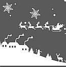 Наклейка Новогодняя ночь с дедом Морозом, зимней деревней и снежинками, фото 8