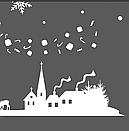 Наклейка Новогодняя ночь с дедом Морозом, зимней деревней и снежинками, фото 5