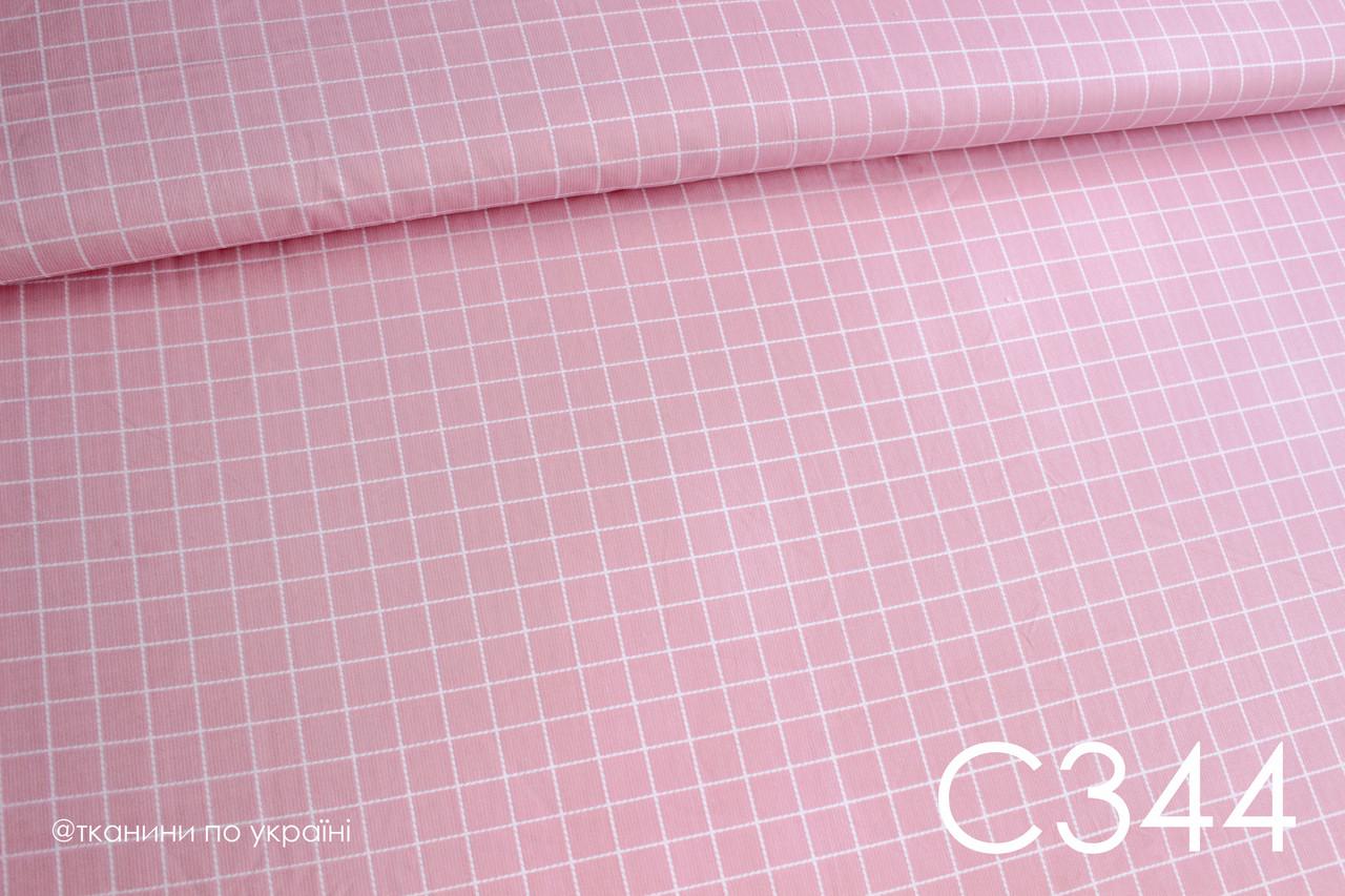Ткань сатин Клетка на розовом