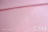 Ткань сатин Клетка на розовом, фото 1
