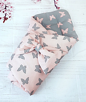 Конверт одеяло на выписку для новорожденных Бабочки демисезонное для девочки пудровый+серый, фото 1