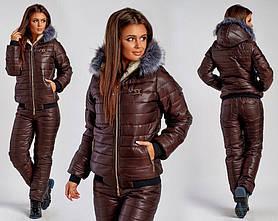 Лыжный зимний костюм куртка на овчине и штаны на синтепоне Шоколадный