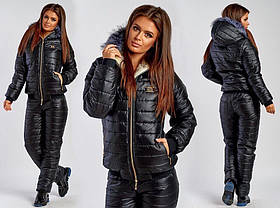 Лыжный Зимний Костюм Большого Размера куртка на овчине и штаны на синтепоне Черный