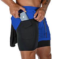 Компрессионные шорты,шорты 2в1 Sport Shorts Blue 3408