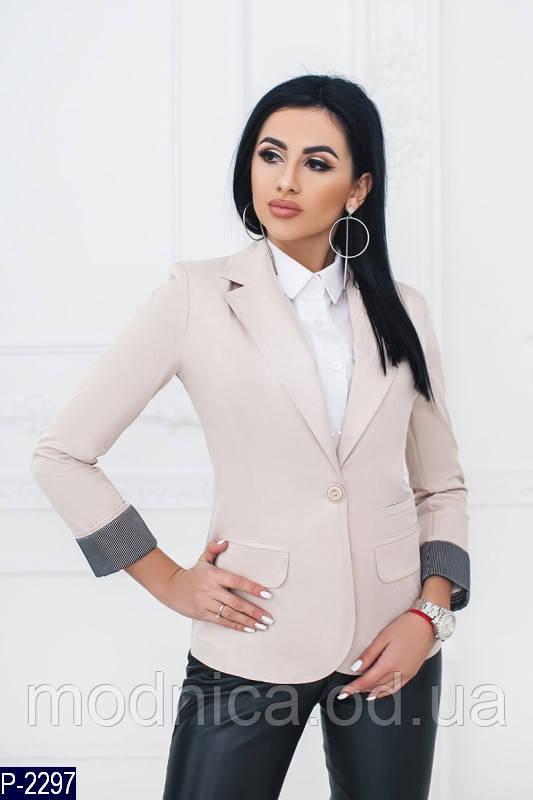 Жіночий піджак із бавовни в діловому стилі, розміри 42