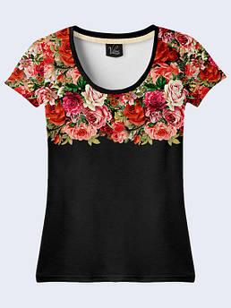 Женская футболка с принтом Розы на черном