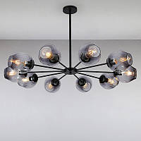 Люстра подвесная молекула на десять ламп LS-815179-10 BK+BK черная