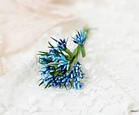 """Декоративні гілочки """"складні тичинки"""" строкаті з гострими листками 10-12 шт/уп. синьо-блакитні"""