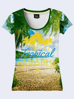 Женская футболка с принтом Тропический Рай