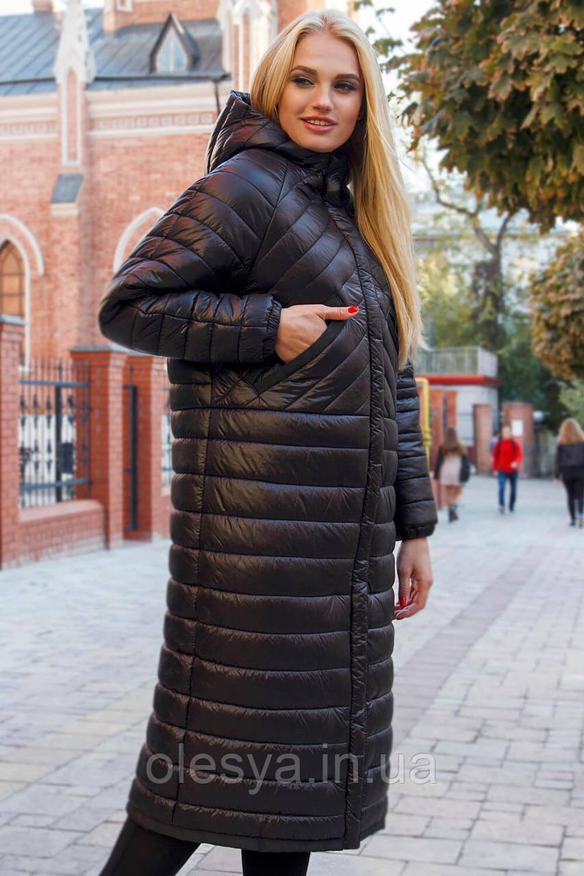 Молодежное модное демисезонное пальто в стиле оверсайз Viola черного цветая Размеры 44 - 48