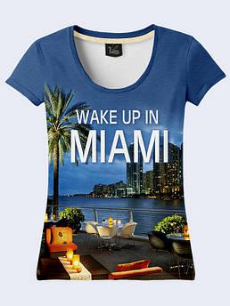 Женская футболка с принтом Майами ночью