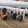 Серебряный набор с натуральными гранатами и золотом кольцо размер 20 + серьги 24х13 мм вставка грана, фото 2