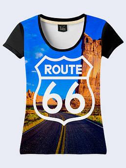 Женская футболка с принтом Америка трасса 66