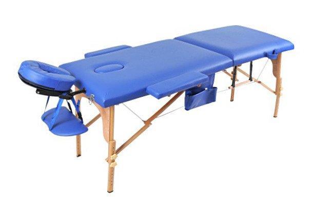 Масажный стол 2 сегмента деревянный o szerokości 70 cm, niebieskie