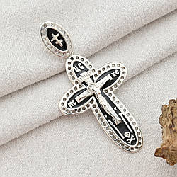 Серебряный крест Спаси и Сохрани размер 42х21 мм черная эмаль вес 3.8 г