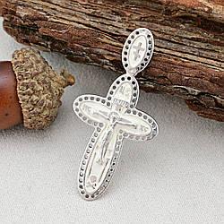 Серебряный крест Спаси и Сохрани размер 42х21 мм белая эмаль вес 3.8 г