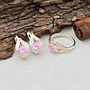 Серебряный набор кольцо размер 19 + серьги 17х10 вставка розовые фианиты, фото 2